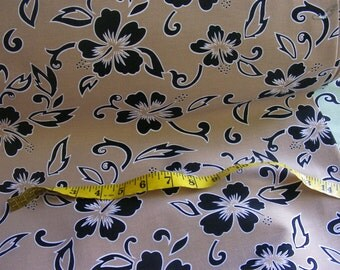 Cotton Lycra Stretch Heavy - Hibiscus Silhouette - over 11.5 yards - very wide at over 60 inches