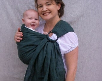 100% Linen Ring Sling - decorative stitching - Baby Carrier in Emerald Green - DVD included, toddler sling, summer sling