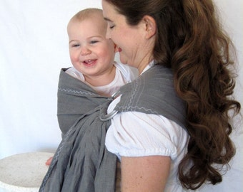 Linen Ring Sling -decorative stitching - Baby Carrier - 100% Linen in Pewter Gray - DVD included, good baby shower gift, toddler carrier