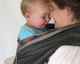 Handloomed Baby Wrap Carrier - Charcoal w Ikat detailed edge - DVD included -Ready to Ship