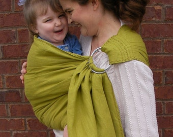 Ring Sling pure Linen - decorative stitching - Baby Carrier Lemongrass- 100% Linen- DVD included -toddler sling, summer, baby shower gift