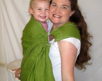 Ring Sling Linen, decorative stiching, Baby Carrier, 100% LINEN in Greenery Leaf Green, DVD included, toddler, summer, baby shower gift