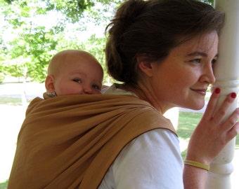 Linen Baby Wrap Woven Shortie Carrier - PURE LINEN in Caramel Tan - Size 4, 3.7 m