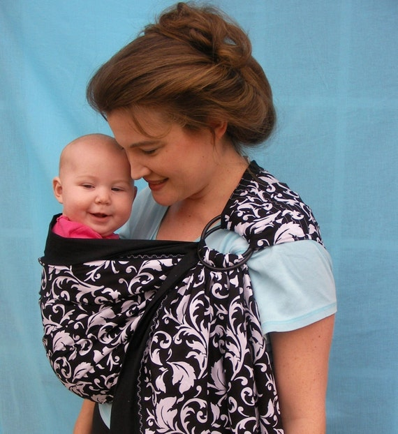 Baby Ring Sling Carrier - Black and White Cotton Damask - DVD included - Get the LPK EDGE