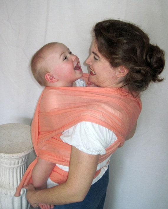 Cotton Airy Gauze Baby Wrap sling - Just Peachy  - beautiful edge