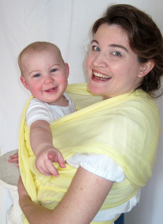 Woven Baby Wrap Sling - Airy Cotton Gauze - Lemon - DVD included