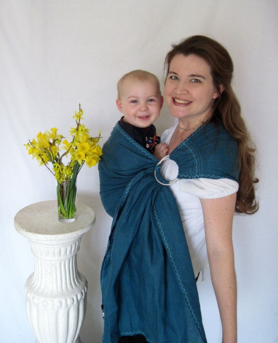 Baby Sling - decorative stitching - pure linen, Ring Sling Baby Carrier - Regatta, Mallard Blue 100% LINEN - DVD included - toddler sling