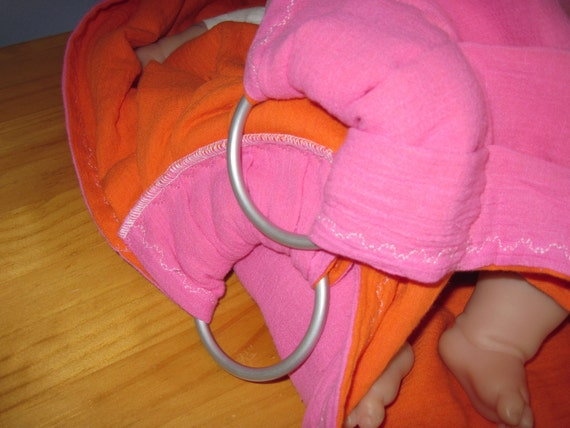 Midwifery Weighing Sling- Fushia and Tangerine w extra detail - great for photo shoots