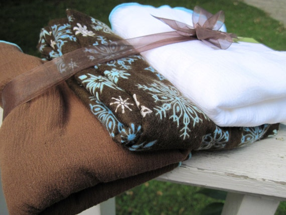 Chocolate Snowflake -- 3 Oversized Swaddling Blankets  - 2 airy and 1 cozy - great for swaddling or photo shoots
