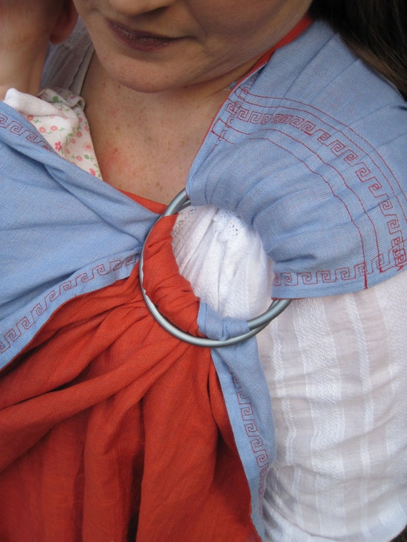 Linen Ring Sling Carrier - Fine Linen Double Layer Ring Sling - Terracotta and Sky Blue - DVD included