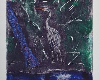 Marsh Magic Stork Bird Art Hand Pulled Print By Cori Solomon