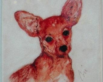 Chihuahua Dog Art Ceramic Tile Coaster By Cori Solomon