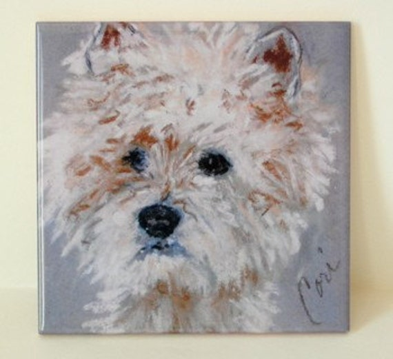 West Highland Terrier Dog Art Tile Coaster Westie By Cori Solomon