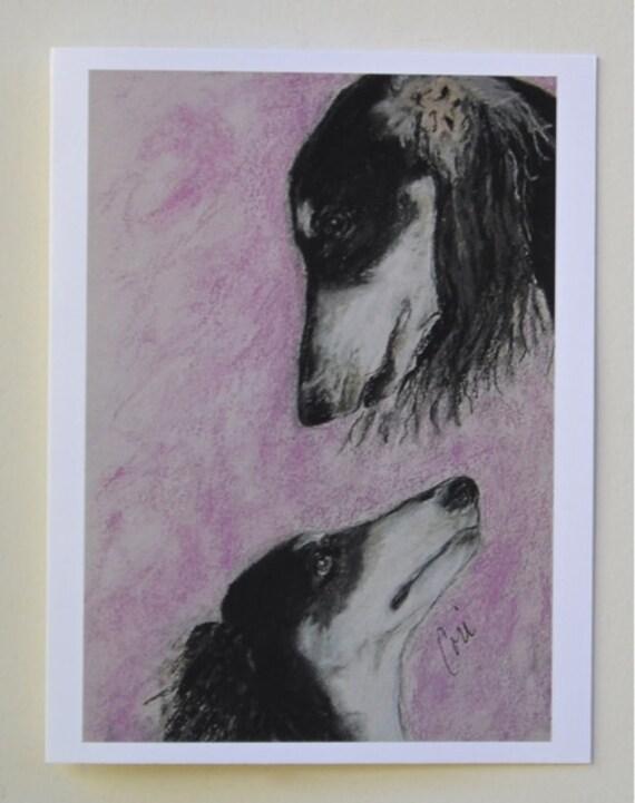 Black Tri Saluki Hound Dog Art Note Cards By Cori Solomon