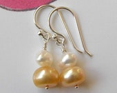 Peach and Cream Pearl Earrings
