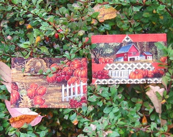 Pumpkin Fall Harvest Quilted Fabric Postcards set of 2