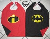 Reversible Incredibles Batman Super hero Cape Boys Mask Costume