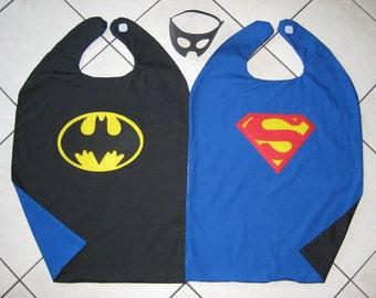 Reversible Superman Batman Super Hero Cape Boys Mask Costume BLUE