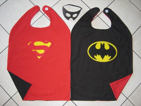 Reversible Superman Batman Superhero Cape Boys Costume Hero Mask RED