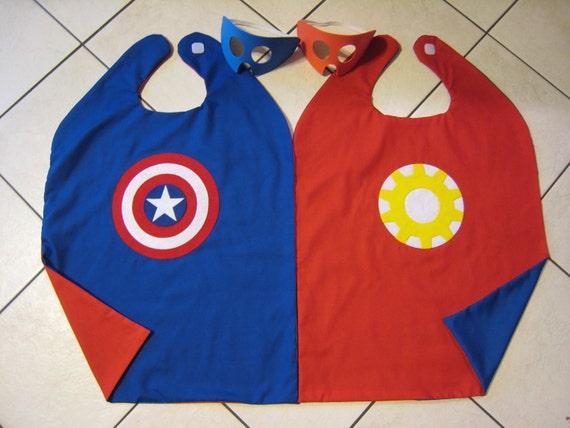 Reversible Captain America Iron Man Super Hero Cape Boys Mask Costume