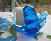 GLASS BLUEBIRD of Happiness Candleholder signed Leo Ward