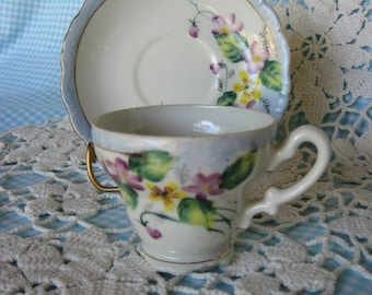 Vintage Hand Painted FERN Demitasse Cup and Saucer Pansies and Violets