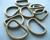 FREE SHIPPING--100 of 3/4 inch Anti Brass Unwelded D-Rings
