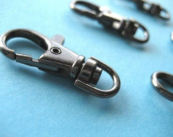 FREE SHIPPING--100 of 1.5 inch Gunmetal Swivel Clasps Lobster Claw Hooks