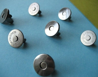 FREE  SHIPPING -- Extra Thin 25 sets of 14 mm Black Nickel/Gunmetal Magnetic Snap Closures