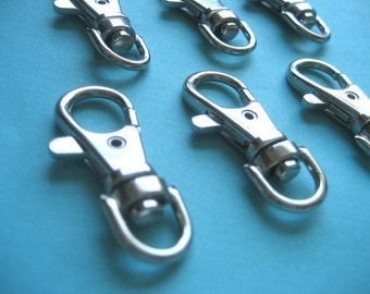 FREE SHIPPING--20 of 1.5 inch Silver/Nickel Swivel Clasps Lobster Claw Hooks