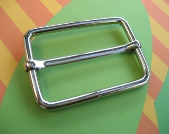 FREE SHIPPING--20 of 1 1/2  inch Silver/Nickel Rectangle Strap Sliders