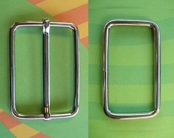 FREE SHIPPING--20 sets, 1.5 inch Silver Rectangle Strap Sliders and 1.5 inch Silver Rectangle Rings