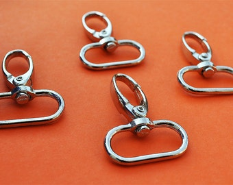 FREE SHIPPING--10 Silver/Nickel Swivel Clasps Hooks with 1 inch loop end