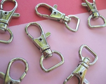 FREE SHIPPING--10 of 1.5 inch with 1/2 inch Loop End Silver/Nickel Swivel Clasps Lobster Claw Hooks