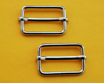 FREE SHIPPING--20 of 1 1/4  inch Silver/Nickel Rectangle Strap Sliders