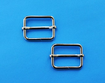 FREE SHIPPING--40 of 1  inch Silver/Nickel Rectangle Strap Sliders