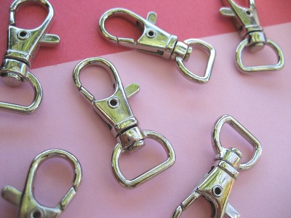 FREE SHIPPING--40 of 1.5 inch with 1/2 inch Loop End Silver/Nickel Swivel Clasps Lobster Claw Hooks