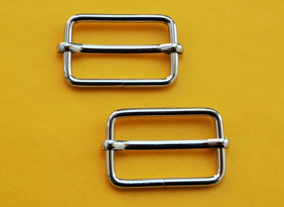 FREE SHIPPING--40 of 1 1/4  inch Silver/Nickel Rectangle Strap Sliders