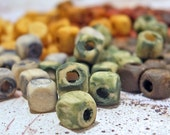 Set of 200 hand painted square wooden beads 5 mm