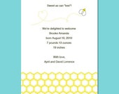 Printable Baby Bee Birth Announcement Template