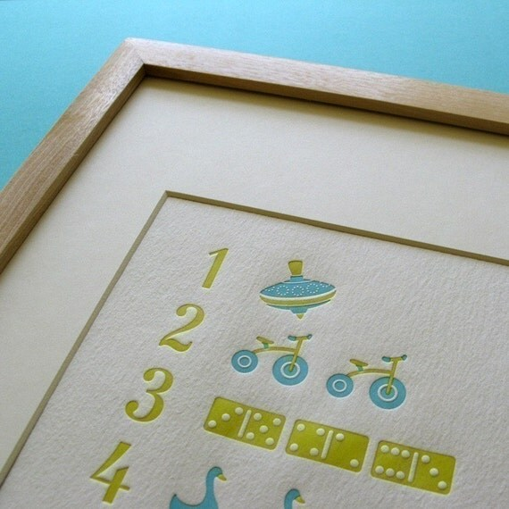 Art for Baby Nursery Letterpress Counting Poster - Blue and Green