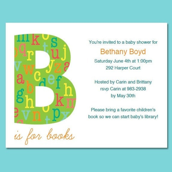 book theme baby shower or birthday invitations printable pdf