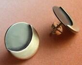 Small Sterling Silver Moon Earrings, Contemporary Earrings, Silver Stud Or Post Earrings, Silversmith Jewelry, Silver Stud Earrings
