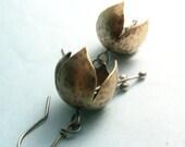 Tinkling Bell Flower Earrings Brass And Sterling Silver Mixed Metal Earrings, Musical Earrings, Artisan Brass Earrings, Metalwork Jewelry