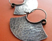 Rustic Medium Sterling Silver Hoops -  Tribal Blade Artisan Earrings Metalsmithed
