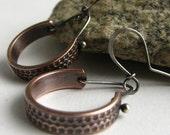 Copper Earrings, Rustic Jewelry, Metalwork Earrings, Mixed Metal Silver And Copper Hoop Earrings, Contemporary Casual Modern Jewelry