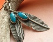Turquoise Sterling Silver Feather Earrings -  Large -  Artisan Metalsmith Jewelry - Turquoise Earrings