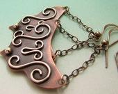 Flamenco Mixed Metal Earrings - Copper and Sterling Silver Gypsy Earrings - Bohemian Tribal Jewelry