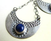 Sterling Silver And Lapis Earrings -  Crescent Moon Earrings - Artisan Metalsmith Lapis Jewelry