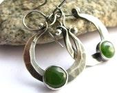 Jade Hoop Earrings -  Handcrafted Sterling Silver And Jade Earrings  - Metalsmithed Gemstone Jewelry